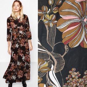 Zara Floral Maxi Shirt Dress Vintage Style Sz M